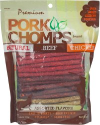 Premium Pork Chomps Munchy Sticks Dog Treats 50 count