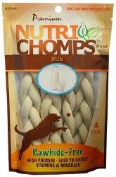 Premium Nutri Chomps 6 Inch Milk Flavor Braided Dog Treats 4 count