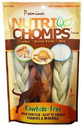 Premium Nutri Chomps 6 Inch Assorted Flavor Braid Dog Treats 4 count
