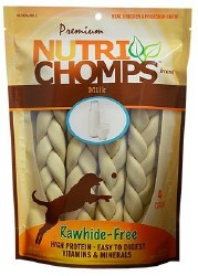 Premium Nutri Chomps 9 Inch Milk Flavor Braid Dog Treats 4 count