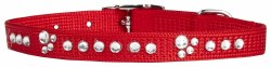 Adjustable Nylon Collar Red With Rhinestones