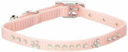 Adjustable Nylon Collar Pink With Rhinestones