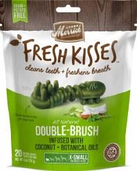 Merrick Fresh Kisses Double Brush Coconut Oil and Botanicals Extra Small Grain Free Dental Dog Treats 20pk