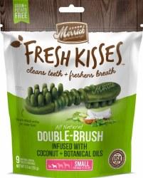 Merrick Fresh Kisses Double Brush Coconut Oil and Botanicals Small Grain Free Dental Dog Treats 9pk