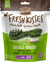 Merrick Fresh Kisses Double Brush Coconut Oil and Botanicals Large Grain Free Dental Dog Treats 4pk