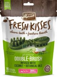 Merrick Fresh Kisses Double Brush Coconut Oil and Botanicals Small Grain Free Dental Dog Treats 15pk