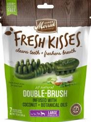 Merrick Fresh Kisses Double Brush Coconut Oil and Botanicals Large Grain Free Dental Dog Treats 7pk