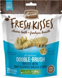 Merrick Fresh Kisses Double Brush Mint Breath Strips Extra Small Grain Free Dental Dog Treats 20pk