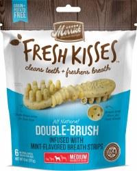 Merrick Fresh Kisses Double Brush Mint Breath Strips Medium Grain Free Dental Dog Treats 6pk
