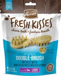 Merrick Fresh Kisses Double Brush Mint Breath Strips Large Grain Free Dental Dog Treats 4pk