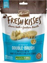Merrick Fresh Kisses Double Brush Mint Breath Strips Extra Small Grain Free Dental Dog Treats 33pk