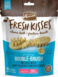 Merrick Fresh Kisses Double Brush Mint Breath Strips Small Grain Free Dental Dog Treats 15pk