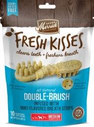 Merrick Fresh Kisses Double Brush Mint Breath Strips Medium Grain Free Dental Dog Treats 10pk