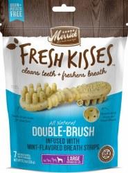 Merrick Fresh Kisses Double Brush Mint Breath Strips Large Grain Free Dental Dog Treats 7pk