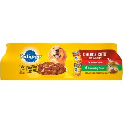 Pedigree Choice Cuts In Gravy Combo Pack Beef and Country Stew Wet Dog Food Case of 12 13.2oz