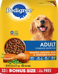 Pedigree Adult Complete Nutrition Roasted Chicken Flavor Dry Dog Food 33lb
