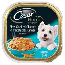 Cesar Home Delights Slow Cooked Chicken and Vegetables Dinner Dog Food Trays 3.5oz