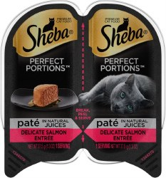 Sheba Perfect Portions Pate In Natural Juices Delicate Salmon Entree Grain Free Wet Cat Food Twin Pack 2.65oz