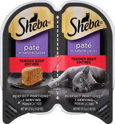 Sheba Perfect Portions Pate in Natural Juices Savory Beef Entree Grain Free Wet Cat Food Twin Pack 2.65oz