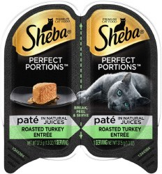 Sheba Perfect Portions Pate in Natural Juices Savory Turkey Entree Grain Free Wet Cat Food Twin Pack 2.65oz