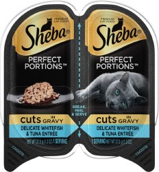 Sheba Perfect Portions Cuts in Natural Juices Savory Ocean Whitefish and Tuna in Gravy Grain Free Wet Cat Food Twin Pack 2.65oz
