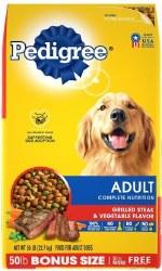 Pedigree Adult Complete Nutrition Grilled Steak & Vegetable Flavor Dry Dog Food 50lb
