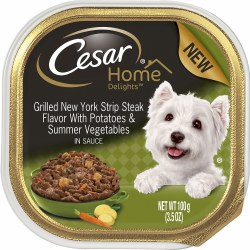 Cesar Home Delights New York Strip Steak Flavor with Potatoes and Summer Vegetables Dog Food Trays 3.5oz