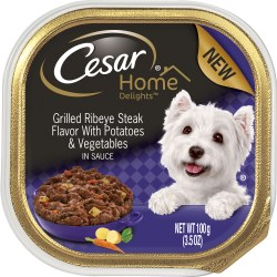 Cesar Home Delights Grilled Ribeye Steak Flavor with Potatoes and Vegetables Dog Food Trays 3.5oz