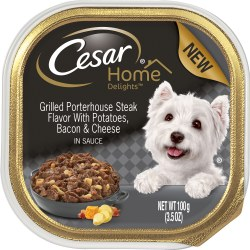 Cesar Home Delights Grilled Porterhouse Steak Flavor with Potatoes, Bacon and Cheese Dog Food Trays 3.5oz