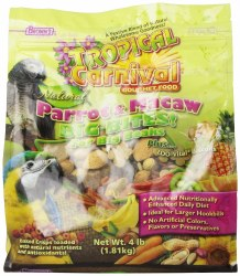 Brown Tropical Carnival Parrot And Macaw Big Bites Food For Big Birds With Zoo Vital Biscuits 4lb