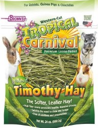 Brown's Tropical Carnival Natural Western Cut Loose Timothy Hay Small Animal Food 24oz