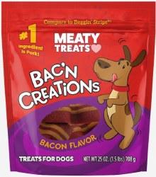 Meaty Treats Bakn Creations Bacon Flavor Dog Treats 25oz