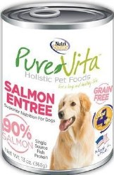 Pure Vita Real Salmon Recipe Grain Free Canned Dog Food 13oz