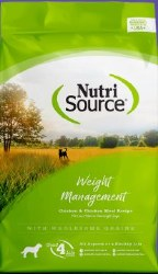 Nutrisource Weight Management Chicken and Rice Formula Dry Dog Food 18lb