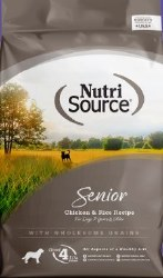 Nutrisource Senior Chicken and Rice Formula Dry Dog Food 30lb
