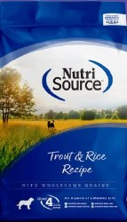 Nutrisource Trout and Brown Rice Formula Dry Dog Food 15lb