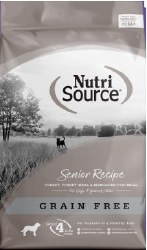 Nutrisource Grain Free Senior Turkey Whitefish and Menhaded Fish Meal Protein Dry Dog Food 30lb