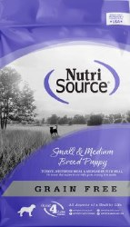 Nutrisource Grain Free Small & Medium Breed Puppy Turkey Meal and Whitefish Meal Protein Dry Dog Food 15lb