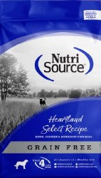 Nutrisource Grain Free Heartland Select Bison Chicken and Menhaden Fish Meal Protein Dry Dog Food 30lb