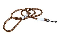 Reflective Braided Rope Snap Leash 6 Inch Campfire Orange
