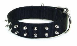 Macho Double Ply Spiked Nylon Collar Large 3/4 Inch x 20 Inch Black