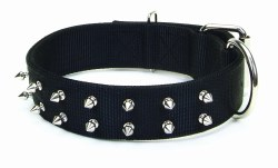 Macho Double Ply Spiked Nylon Collar Large 3/4 Inch x 22 Inch Black