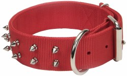Macho Double Ply Spiked Nylon Collar Large 3/4 Inch x 20 Inch Red