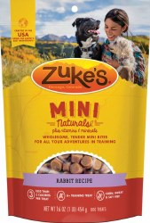 Zuke's Mini Naturals Rabbit Recipe Dog Treats 16oz Bag