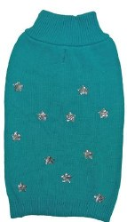 Sequin Stars Sweater Teal XS