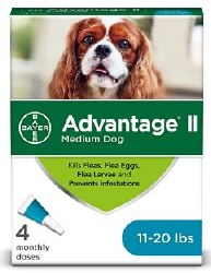Bayer Advantage II For Medium Dogs 11-20 lbs 4 Month Supply