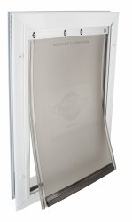 PetSafe Freedom Aluminum Pet Door for Dogs and Cats White Tinted Vinyl Flap Medium Over 40lbs