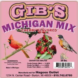 Gibs Michigan Mix Cherry Flavored Wild Bird  Seed 33LB