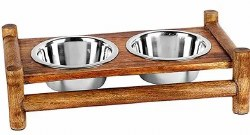 Advance 1 Quart Bamboo Double Diner Stainless Steel Dish