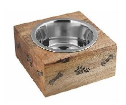 Advance Lrg Sq Wood PawBowl